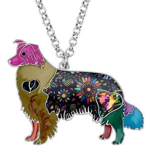 Border Collie Enamel Necklace Necklace Multicolor Tiny Beast Designs
