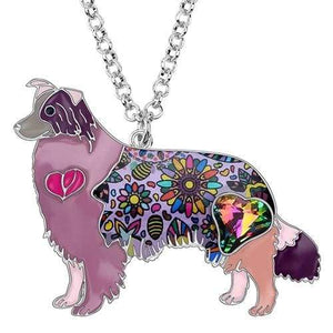 Border Collie Enamel Necklace Necklace Purple Tiny Beast Designs