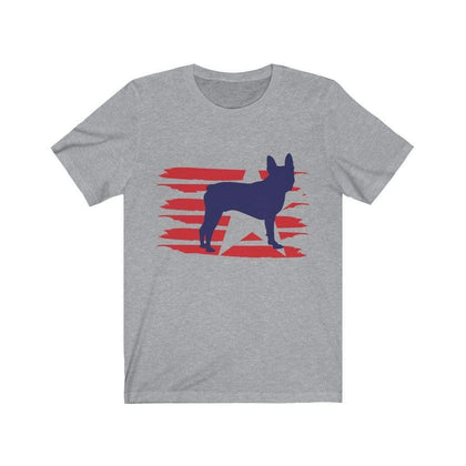 Boston Terrier American Stripes Shirt T-Shirt Athletic Heather / L Tiny Beast Designs