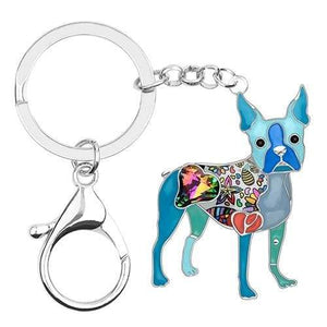 Boston Terrier Enamel Keychain Keychain Blue Tiny Beast Designs