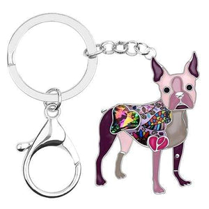 Boston Terrier Enamel Keychain Keychain Purple Tiny Beast Designs