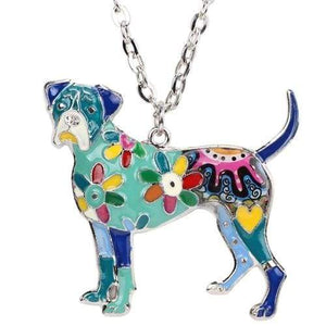 Boxer Enamel Necklace Necklace Blue Tiny Beast Designs