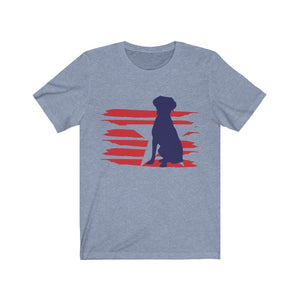Brittany Spaniel American Stripes Shirt T-Shirt Heather Blue / S Tiny Beast Designs