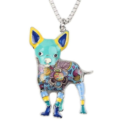 Chihuahua Adult Enamel Necklace Necklace Blue Tiny Beast Designs