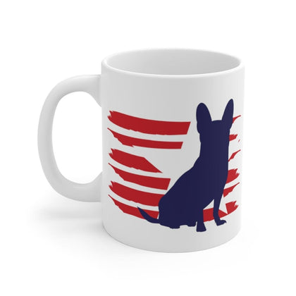 Chihuahua American Stripes Mug Mug 11oz Tiny Beast Designs