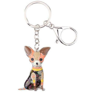 Chihuahua Enamel Keychain Keychain Brown Tiny Beast Designs
