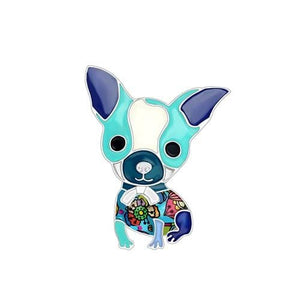 Chihuahua Puppy Enamel Brooch Brooch Blue Tiny Beast Designs