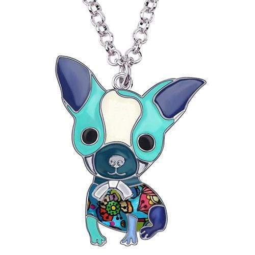 Chihuahua Puppy Enamel Necklace Necklace Blue Tiny Beast Designs