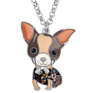 Chihuahua Puppy Enamel Necklace Necklace Brown Tiny Beast Designs