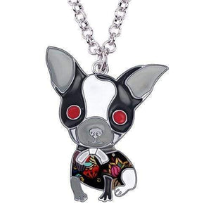 Chihuahua Puppy Enamel Necklace Necklace Grey Tiny Beast Designs