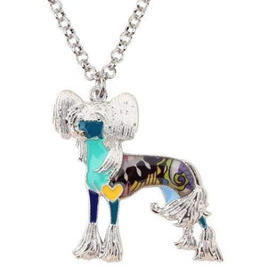 Chinese Crested Enamel Necklace Necklace Blue Tiny Beast Designs