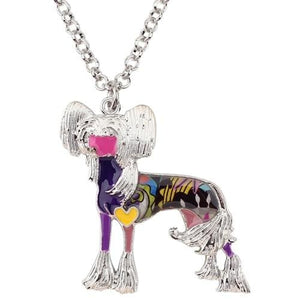 Chinese Crested Enamel Necklace Necklace Purple Tiny Beast Designs