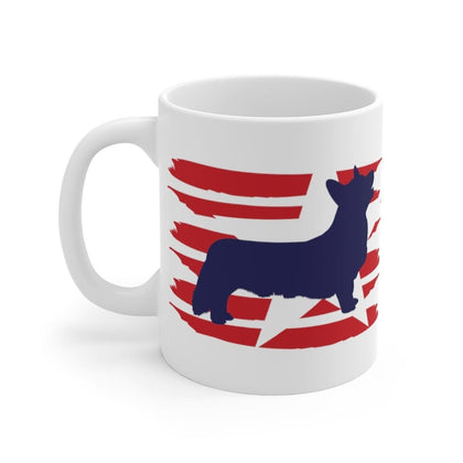 Corgi American Stripes Mug Mug 11oz Tiny Beast Designs
