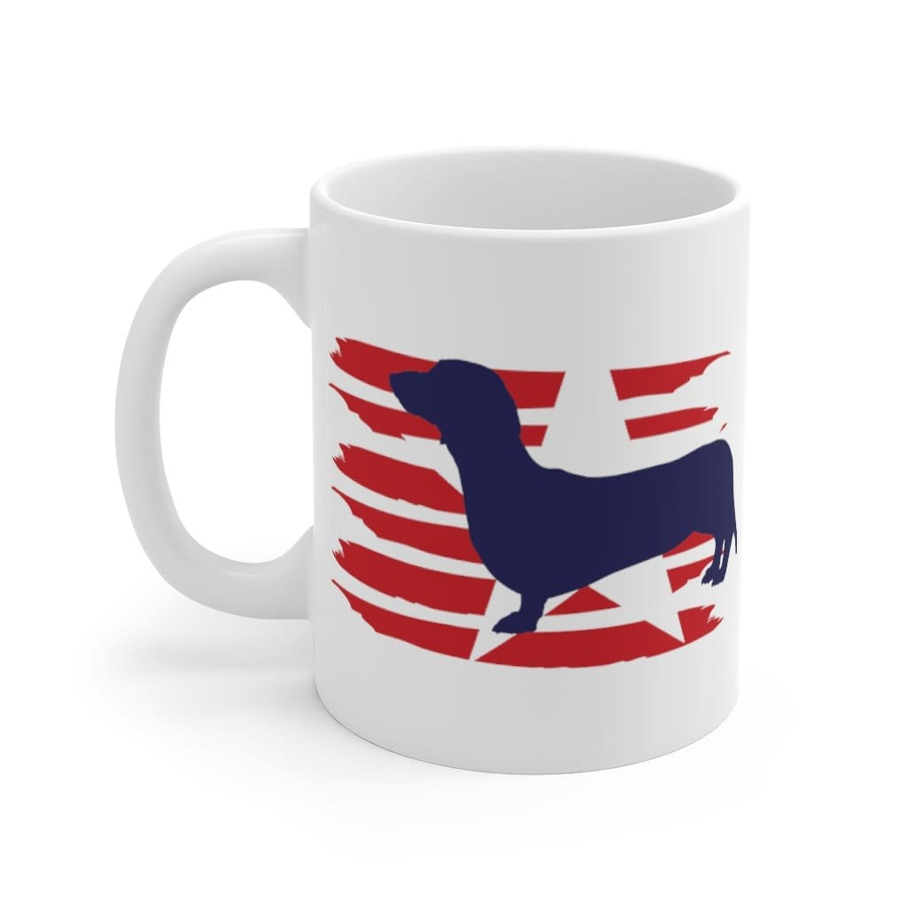 Dachshund American Stripes Mug Mug 11oz Tiny Beast Designs
