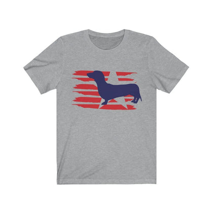 Dachshund American Stripes Shirt T-Shirt Athletic Heather / L Tiny Beast Designs