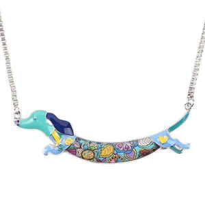 Dachshund Jump Enamel Necklace Necklace Blue Tiny Beast Designs