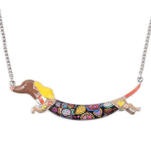 Dachshund Jump Enamel Necklace Necklace Brown Tiny Beast Designs