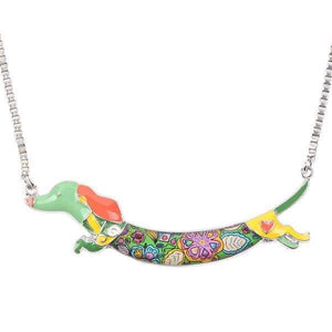 Dachshund Jump Enamel Necklace Necklace Green Tiny Beast Designs