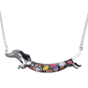 Dachshund Jump Enamel Necklace Necklace Grey Tiny Beast Designs