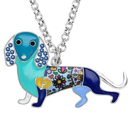 Dachshund Rhinestone Enamel Necklace Necklace Blue Tiny Beast Designs