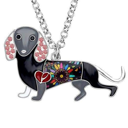 Dachshund Rhinestone Enamel Necklace Necklace Purple Tiny Beast Designs