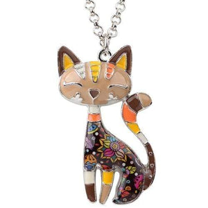 Enamel Cat Necklace Brown / United States Tiny Beast Designs