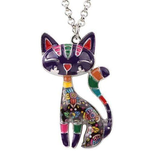 Enamel Cat Necklace Purple / United States Tiny Beast Designs