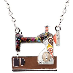 Enamel Sewing Machine Necklace Brown / United States Tiny Beast Designs