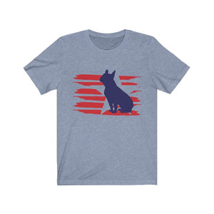 French Bulldog American Stripes Shirt T-Shirt Heather Blue / S Tiny Beast Designs