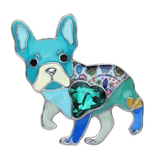 French Bulldog Enamel Brooch Brooch Blue Tiny Beast Designs