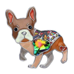 French Bulldog Enamel Brooch Brooch Brown Tiny Beast Designs