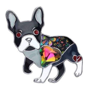 French Bulldog Enamel Brooch Brooch Grey Tiny Beast Designs