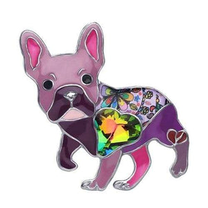 French Bulldog Enamel Brooch Brooch Purple Tiny Beast Designs