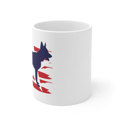 German Shepherd American Stripes Mug Mug 11oz Tiny Beast Designs