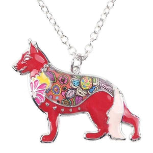 German Shepherd Enamel Necklace Necklace Red Tiny Beast Designs