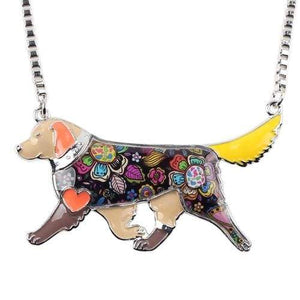 Golden Retriever Enamel Necklace Necklace Brown Tiny Beast Designs