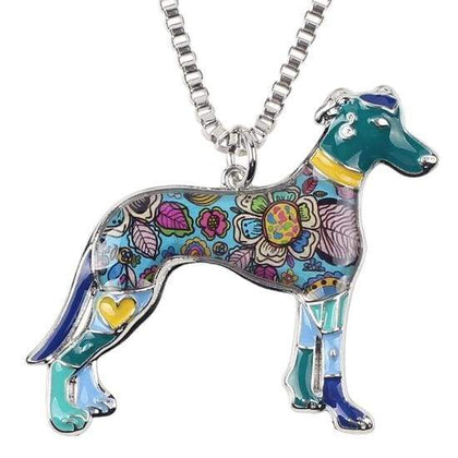 Greyhound Enamel Necklace Necklace Blue Tiny Beast Designs
