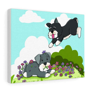 Joyful Schnauzers Printed Canvas Canvas Large (14″ × 11″) Tiny Beast Designs
