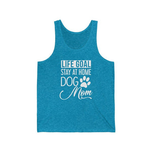"""Life Goal: Stay at Home Dog Mom"" Unisex Tank Top Tank Top Aqua TriBlend / XS Tiny Beast Designs"