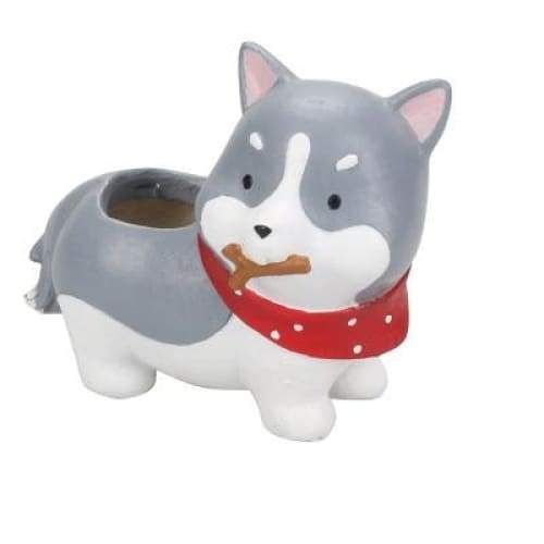 Playful Husky Plant Pot Planter Tiny Beast Designs