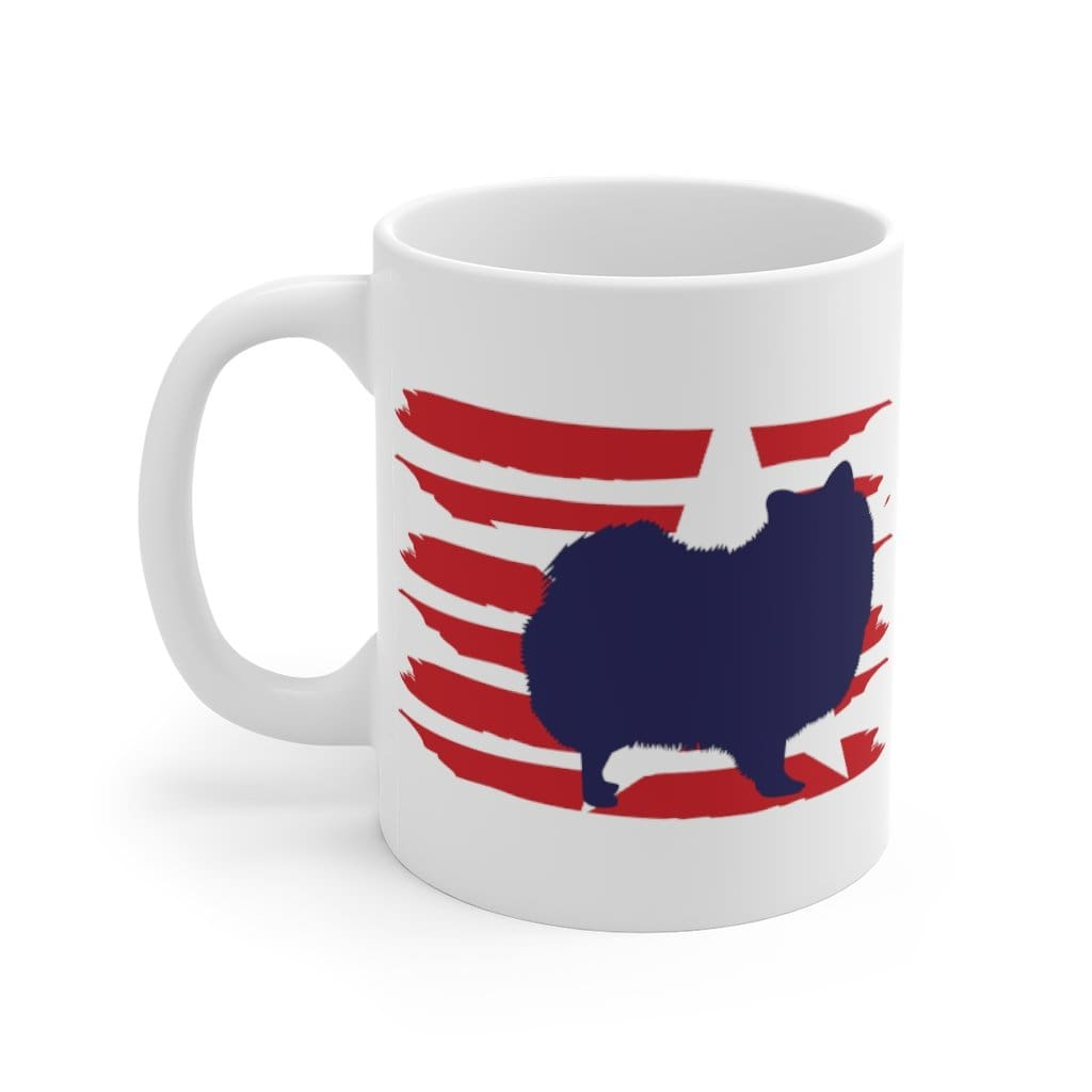 Pomeranian American Stripes Mug Mug 11oz Tiny Beast Designs