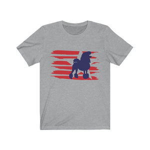 Poodle American Stripes Shirt T-Shirt Athletic Heather / L Tiny Beast Designs