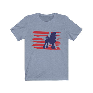 Poodle American Stripes Shirt T-Shirt Heather Blue / S Tiny Beast Designs