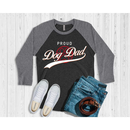 """Proud Dog Dad"" Baseball Shirt Long-sleeve Tiny Beast Designs"