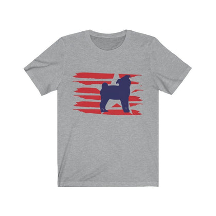 Pug American Stripes Shirt T-Shirt Athletic Heather / L Tiny Beast Designs