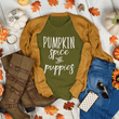 "Load image into Gallery viewer, ""Pumpkin Spice & Puppies"" Shirt T-Shirt Olive / XS Tiny Beast Designs"