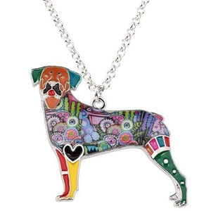 Rottweiler Enamel Necklace Multicolor / United States Tiny Beast Designs
