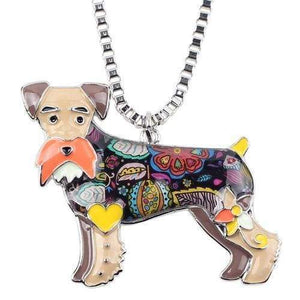 Schnauzer Enamel Necklace Necklace Brown Tiny Beast Designs