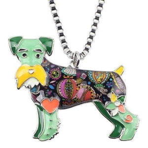 Schnauzer Enamel Necklace Necklace Green Tiny Beast Designs