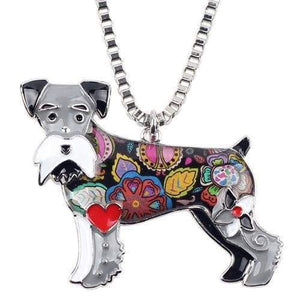 Schnauzer Enamel Necklace Necklace Grey Tiny Beast Designs